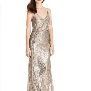 NWT After Six Rose Gold Sequin Blouson Gown